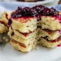 Lemon Ricotta Pancakes with Blackberry Sauce