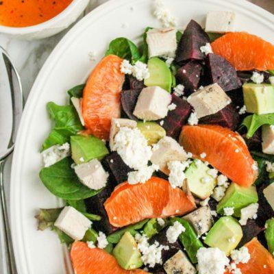 Cara Cara Orange, Beet, & Avocado Salad with Chicken & Goat Cheese