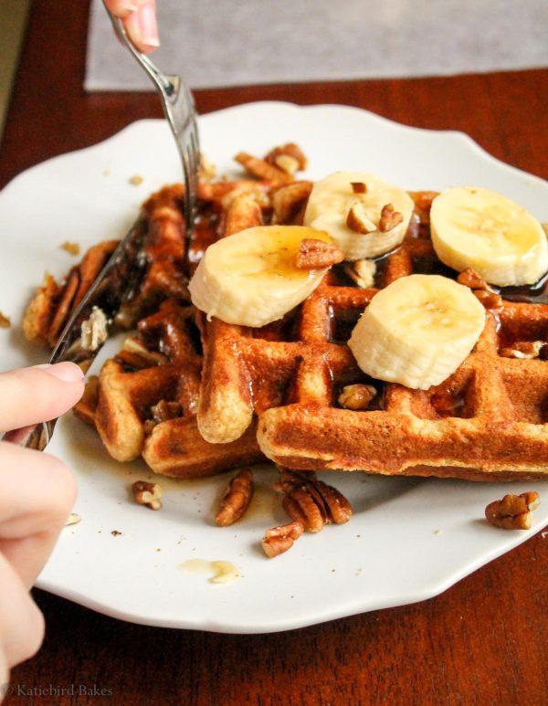 Whole Wheat Banana Waffles katiebirdbakes.com