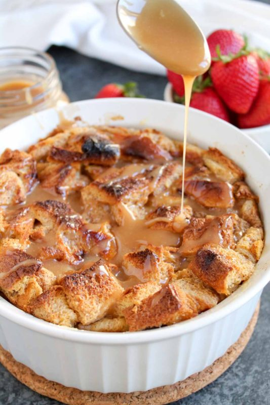 Brioche Bread Pudding with Salted Caramel Sauce | katiebirdbakes.com