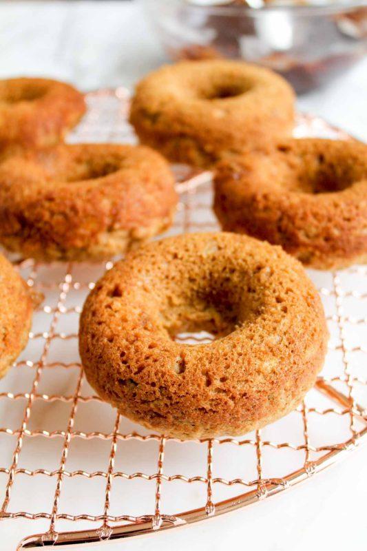 Baked Banana Donuts with Dark Chocolate Glaze | katiebirdbakes.com | baked donuts
