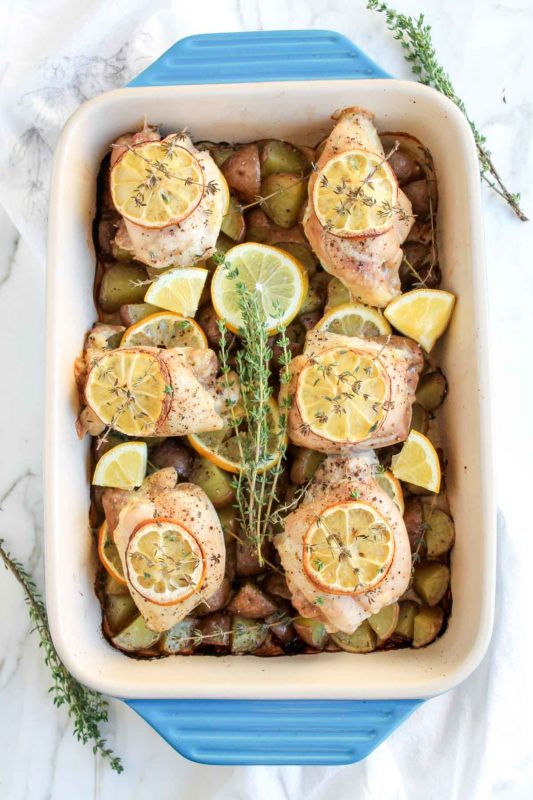 One Pan Lemon Thyme Roasted Chicken Thighs | katiebirdbakes.com