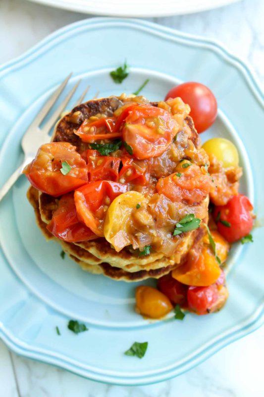 Fresh Corn Cakes w Caramelized Shallots & Tomatoes | katiebirdbakes.com