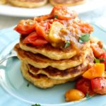 Fresh Corn Cakes with Caramelized Shallots & Tomatoes