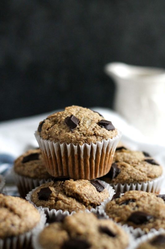Banana Oatmeal Chocolate Chip Muffins | katiebirdbakes.com