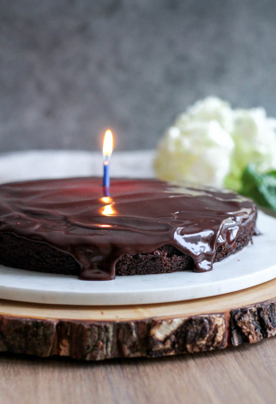 Single Layer Chocolate Cake with Chocolate Ganache | katiebirdbakes.com