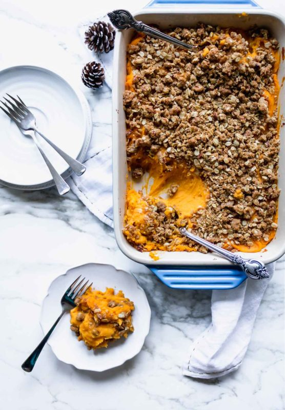 Sweet Potato Casserole with Pecan Oat Crumble