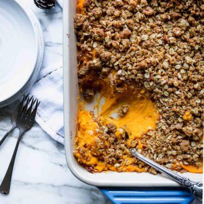 Sweet Potato Casserole with Pecan Oat Crumble
