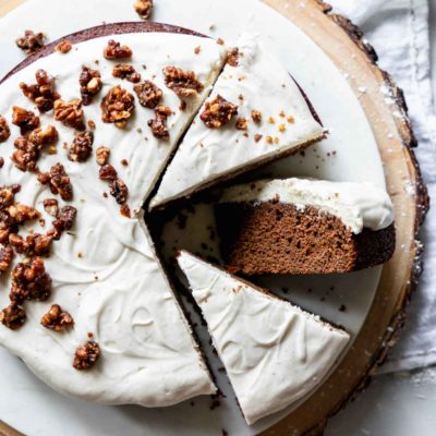 Single Layer Gingerbread Cake with Cream Cheese Frosting