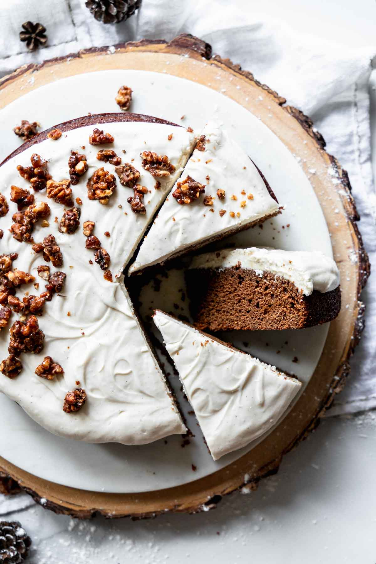 Single Layer Gingerbread Cake with Cream Cheese Frosting - a rich gingerbread with coffee in the batter for deep flavor!