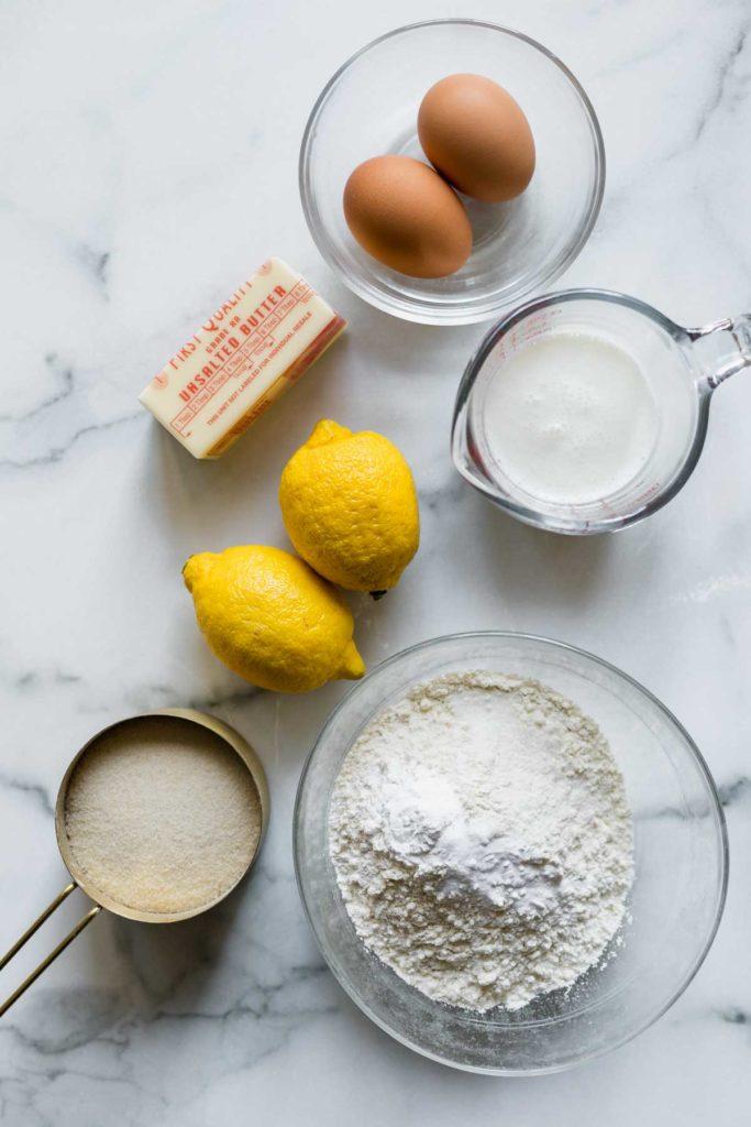 Ingredients for single layer lemon cake - katiebird bakes