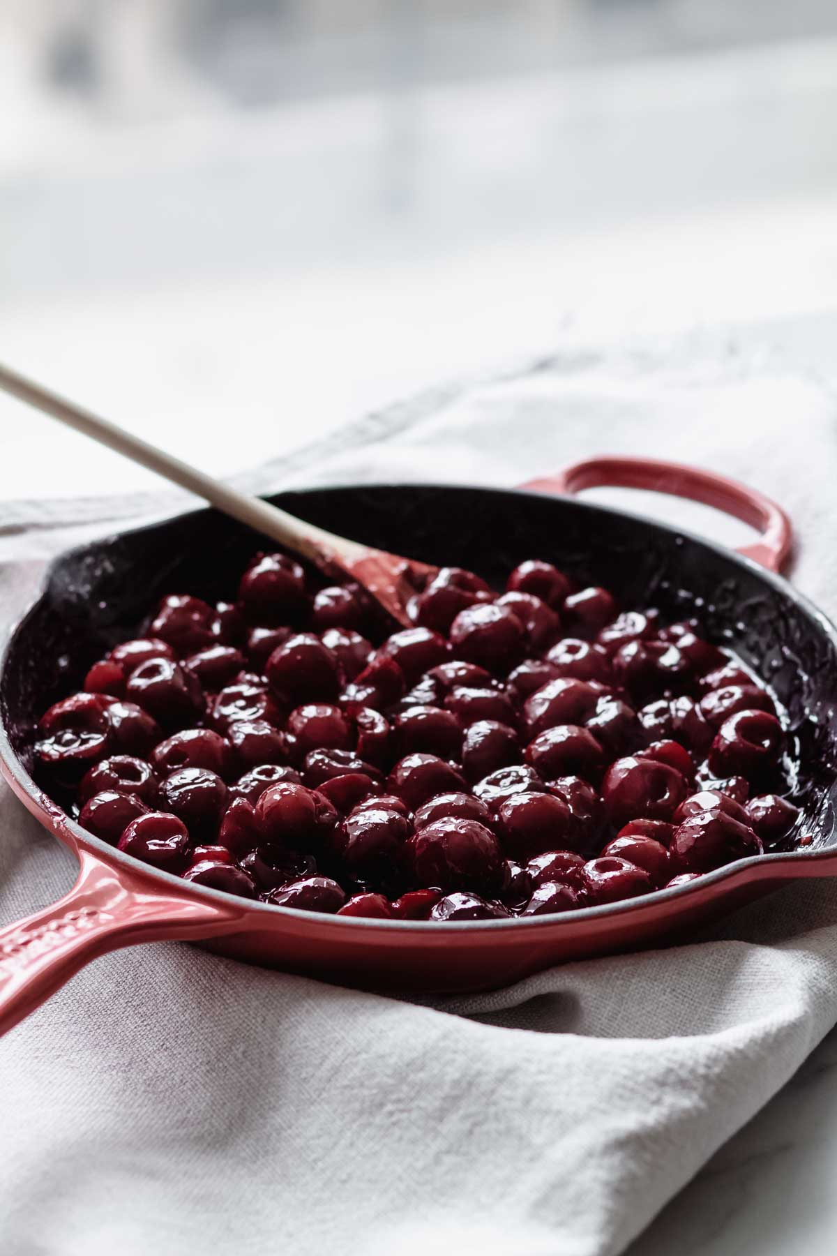 Cooking cherries for cherry cobbler