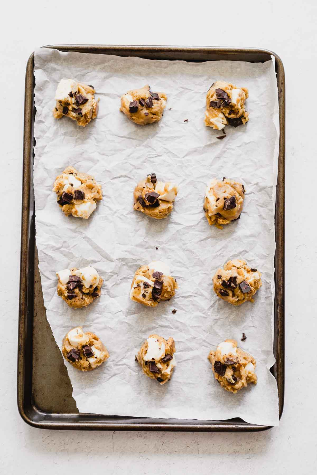 Cookie dough for S'mores Cookies | katiebirdbakes