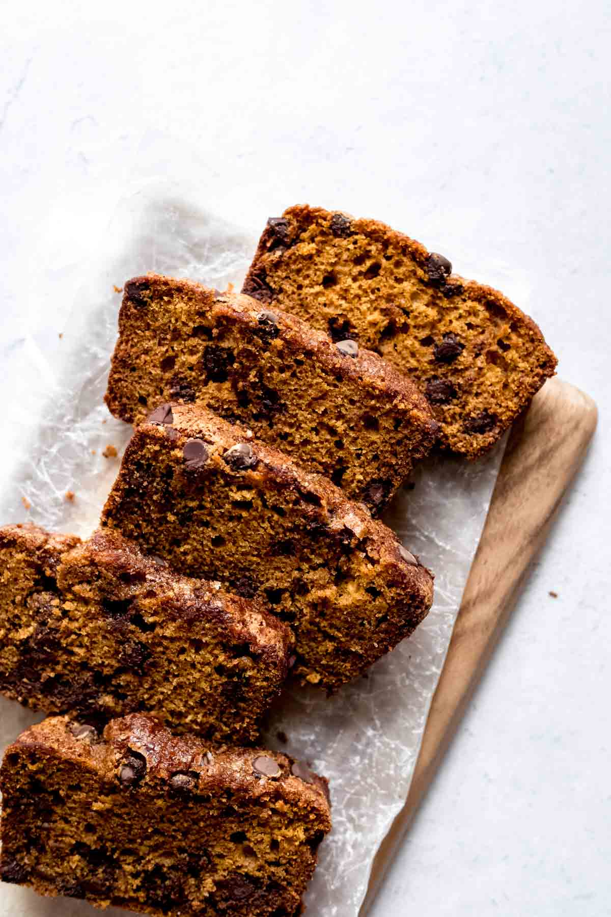 Chocolate Chip Pumpkin Bread on a serving board