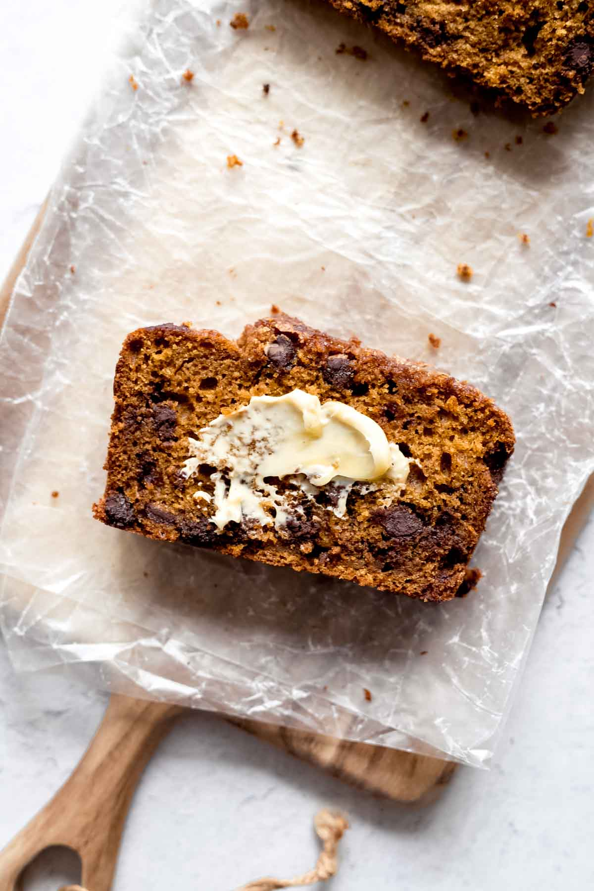 Chocolate Chip Pumpkin Bread with salted butter