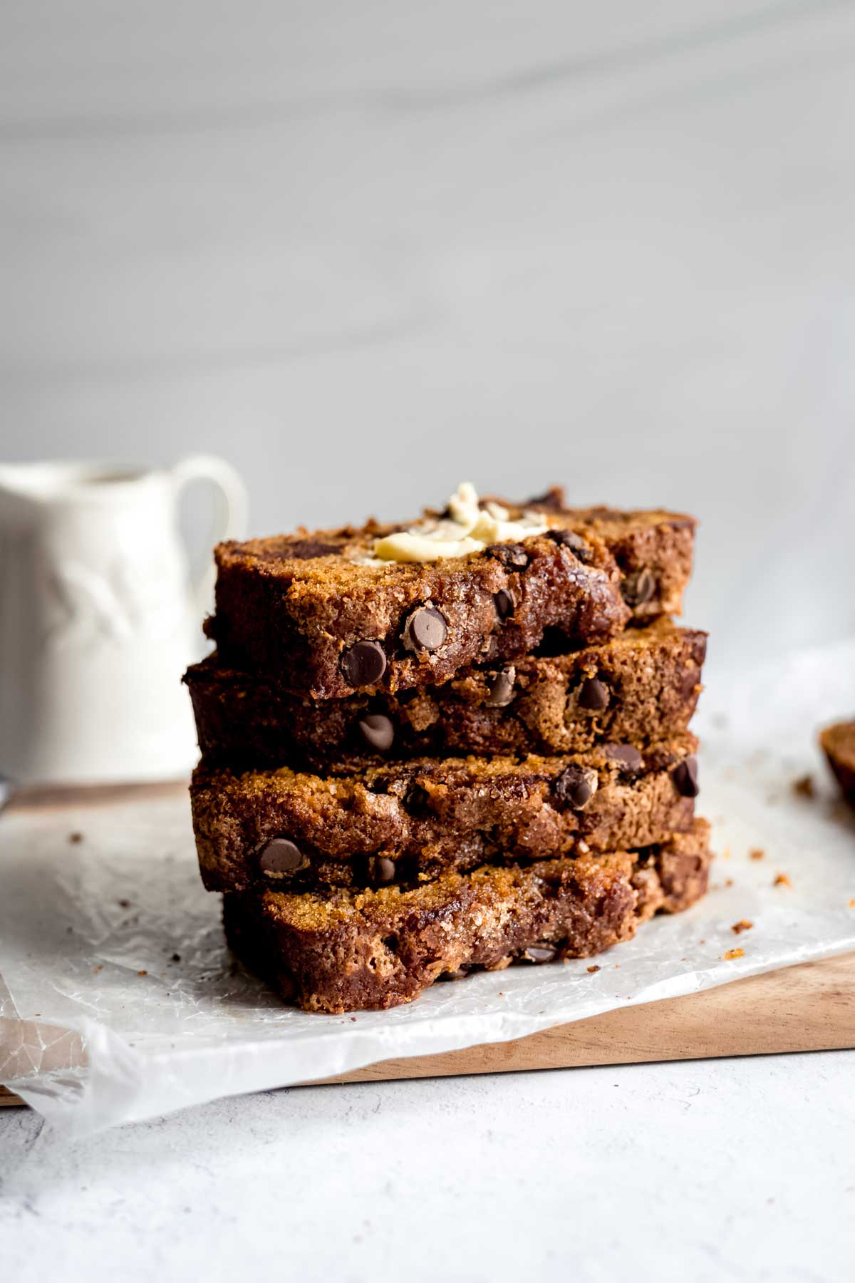 Chocolate Chip Pumpkin Bread stacked