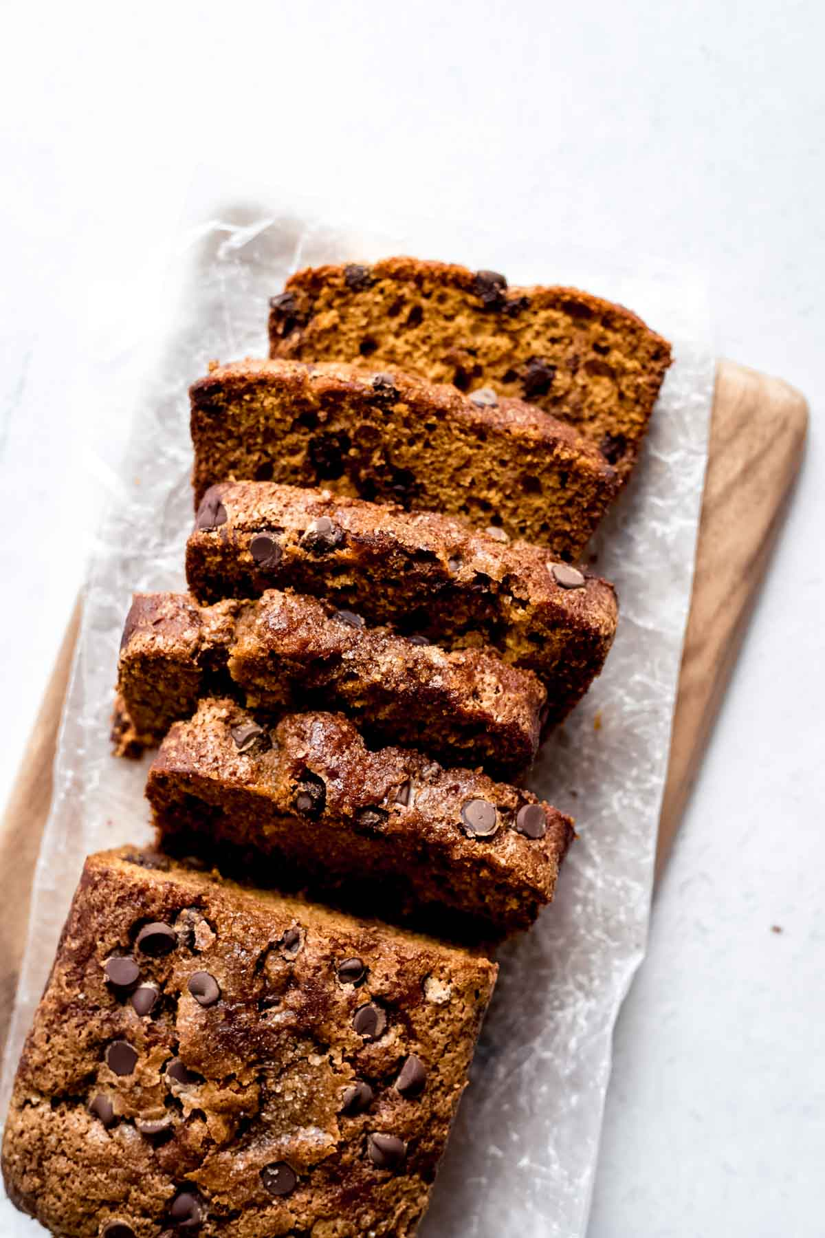Chocolate Chip Pumpkin Bread cascading slices