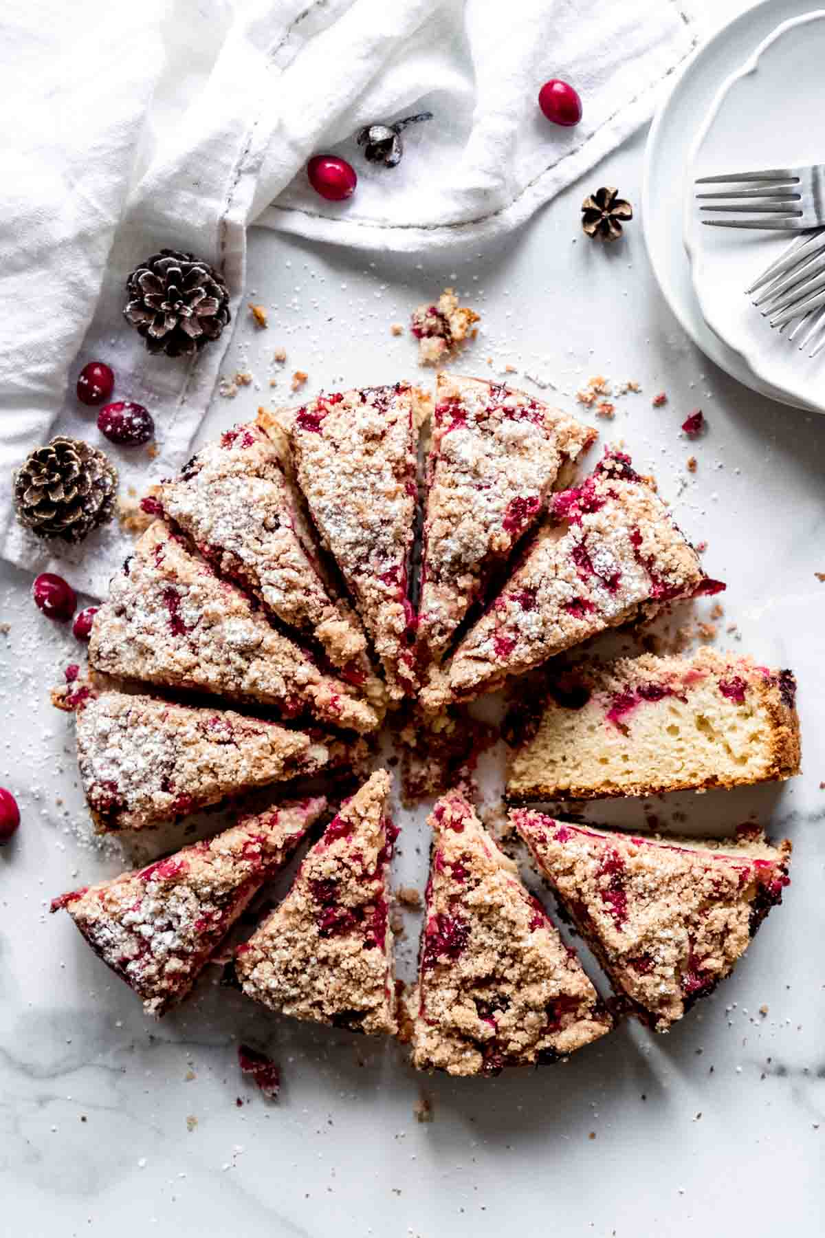 Cranberry crumb cake slices - perfect for holiday brunch!