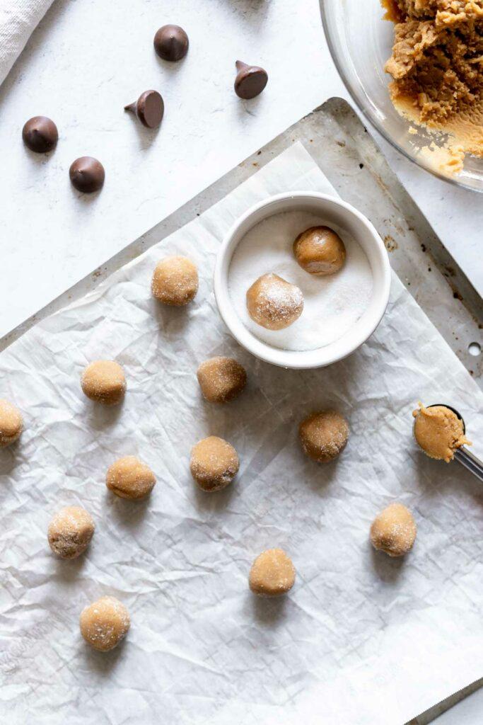 Peanut butter blossom cookies in progress