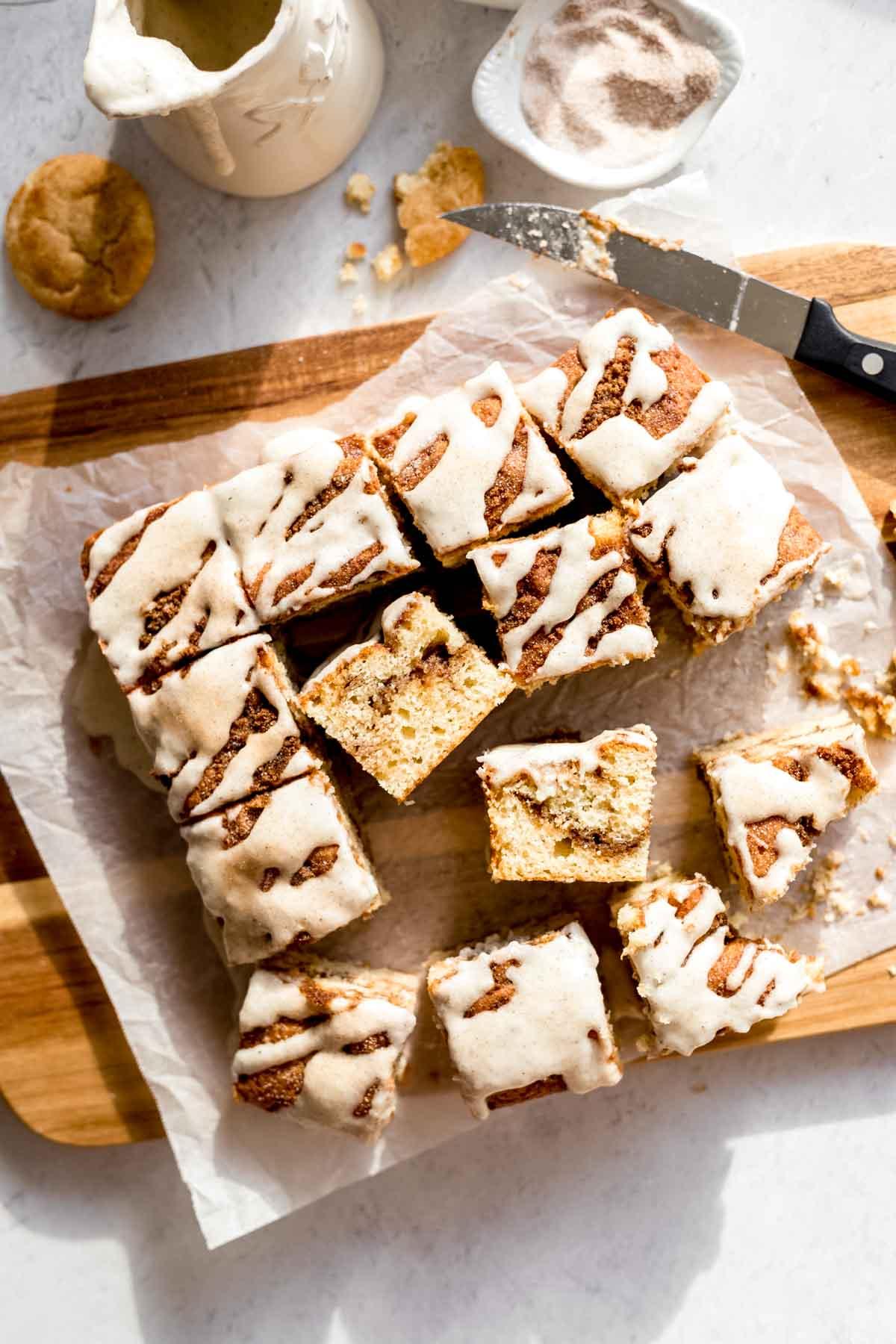 Snickerdoodle Cake with Cream Cheese Glaze!