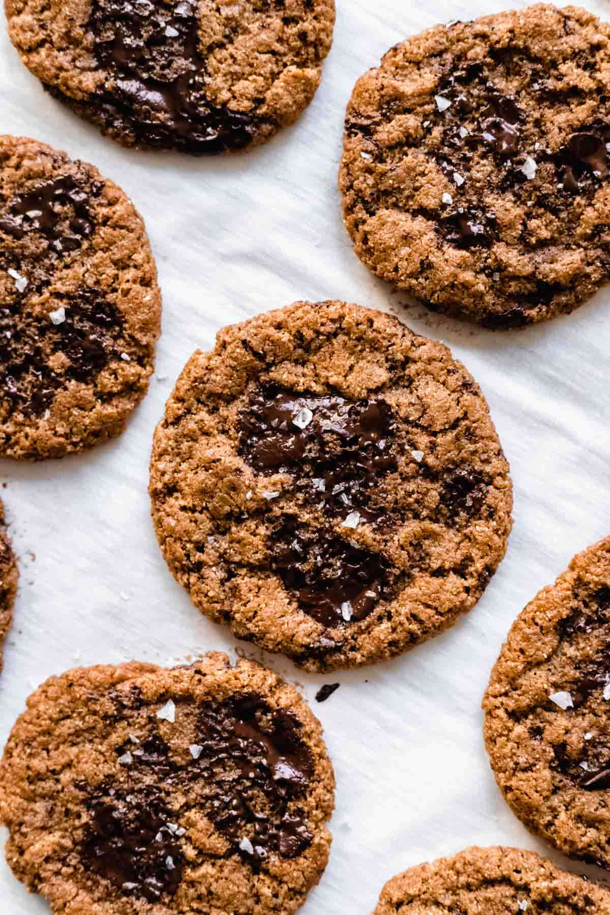 Flourless gluten-free almond butter chocolate chunk cookies