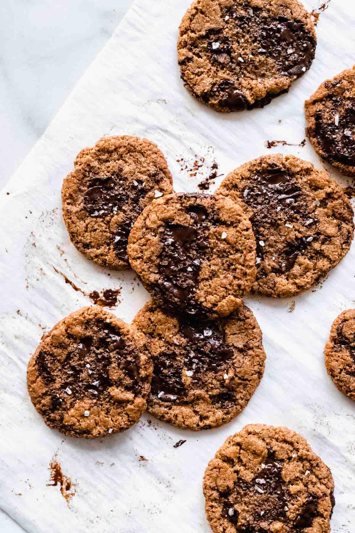 Flourless Almond Butter Chocolate Chip Cookies | katiebirdbakes