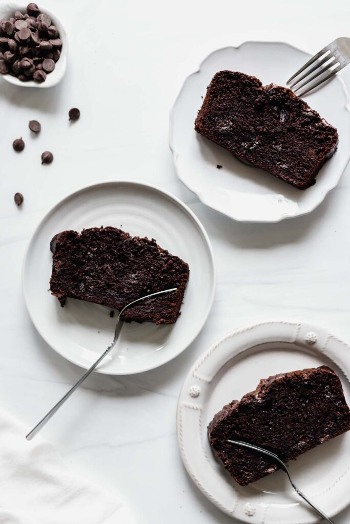 Dark chocolate banana bread slices with forks