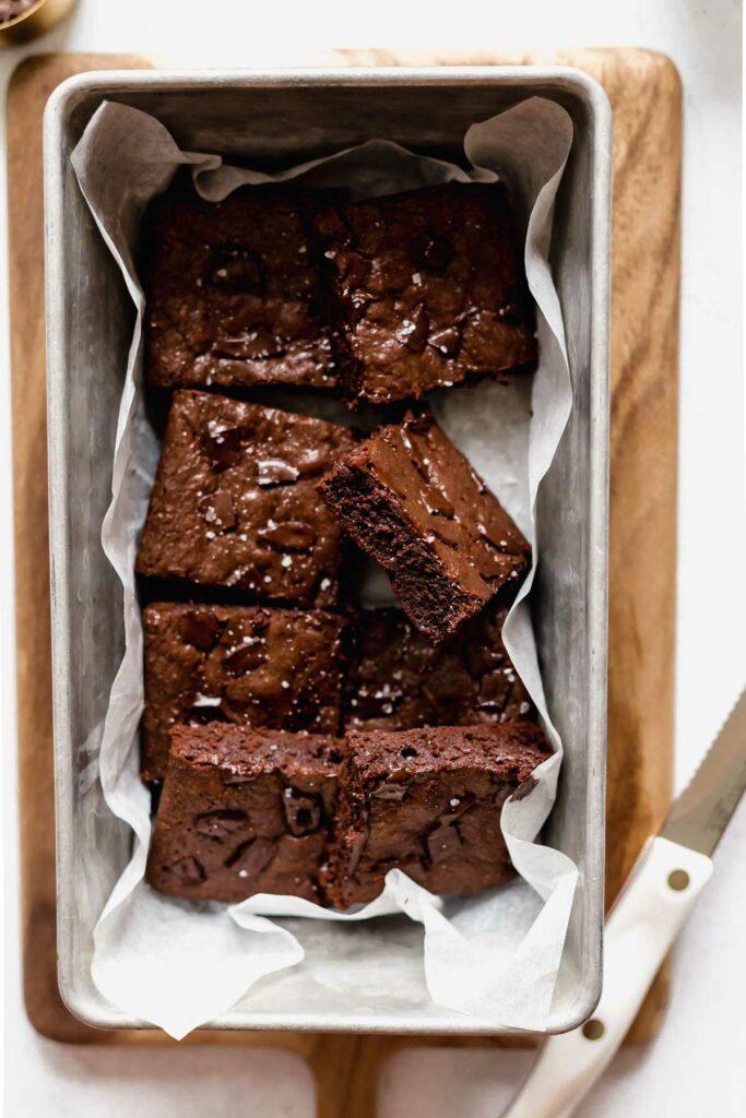 Fudgy brownies in a loaf pan | katiebirdbakes