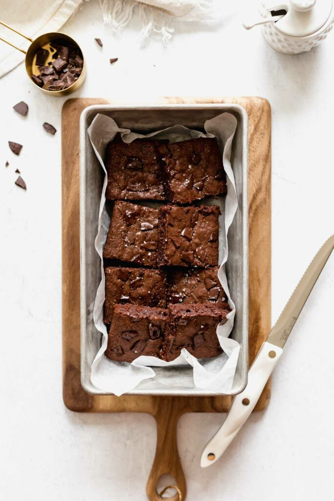 Cut brownies in a loaf pan | katiebirdbakes