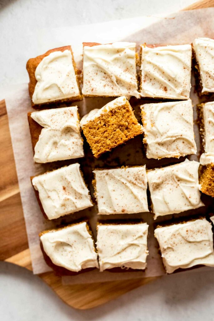 Easy Pumpkin cake bars with cream cheese frosting