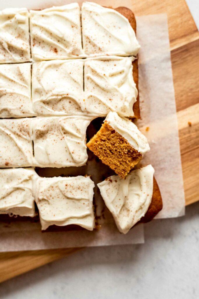 Pumpkin cake bars easy cream cheese frosting